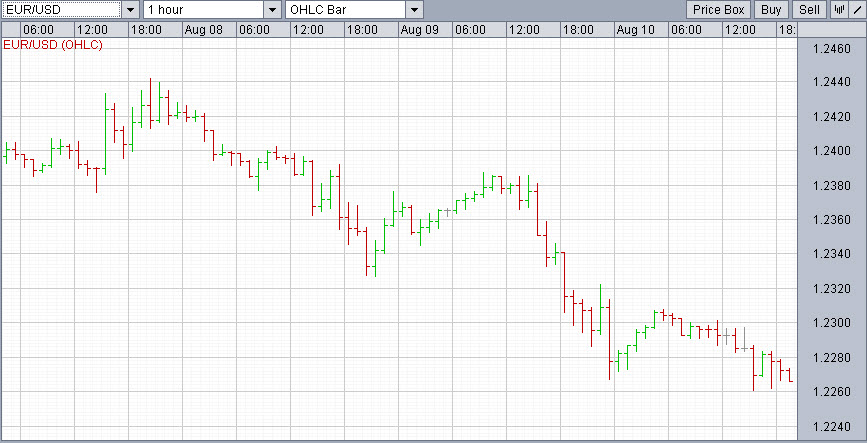Euro currency hourly bars